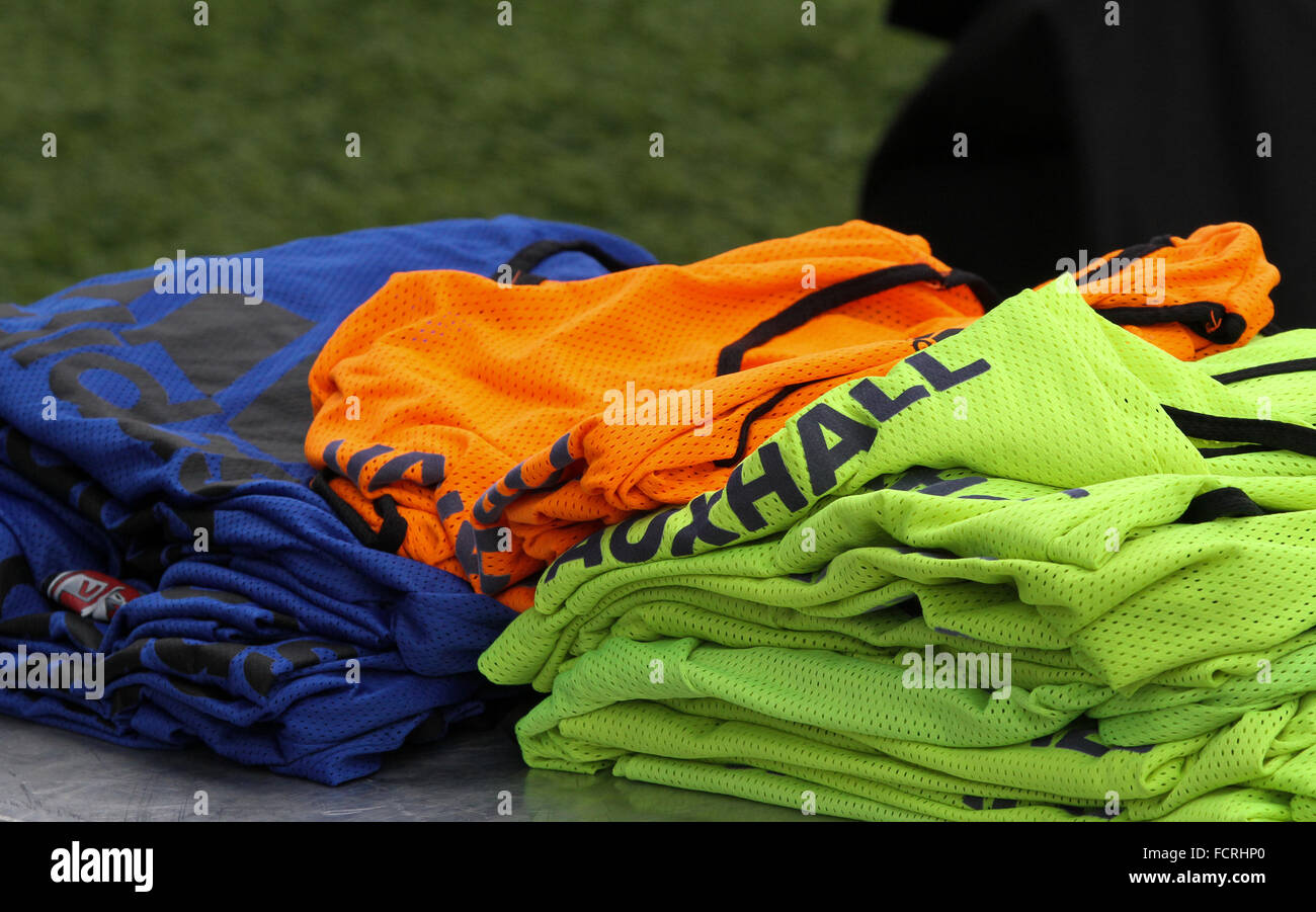 Vauxhall football training bibs ready for use by Northern Ireland at Windsor Park. - Stock Image