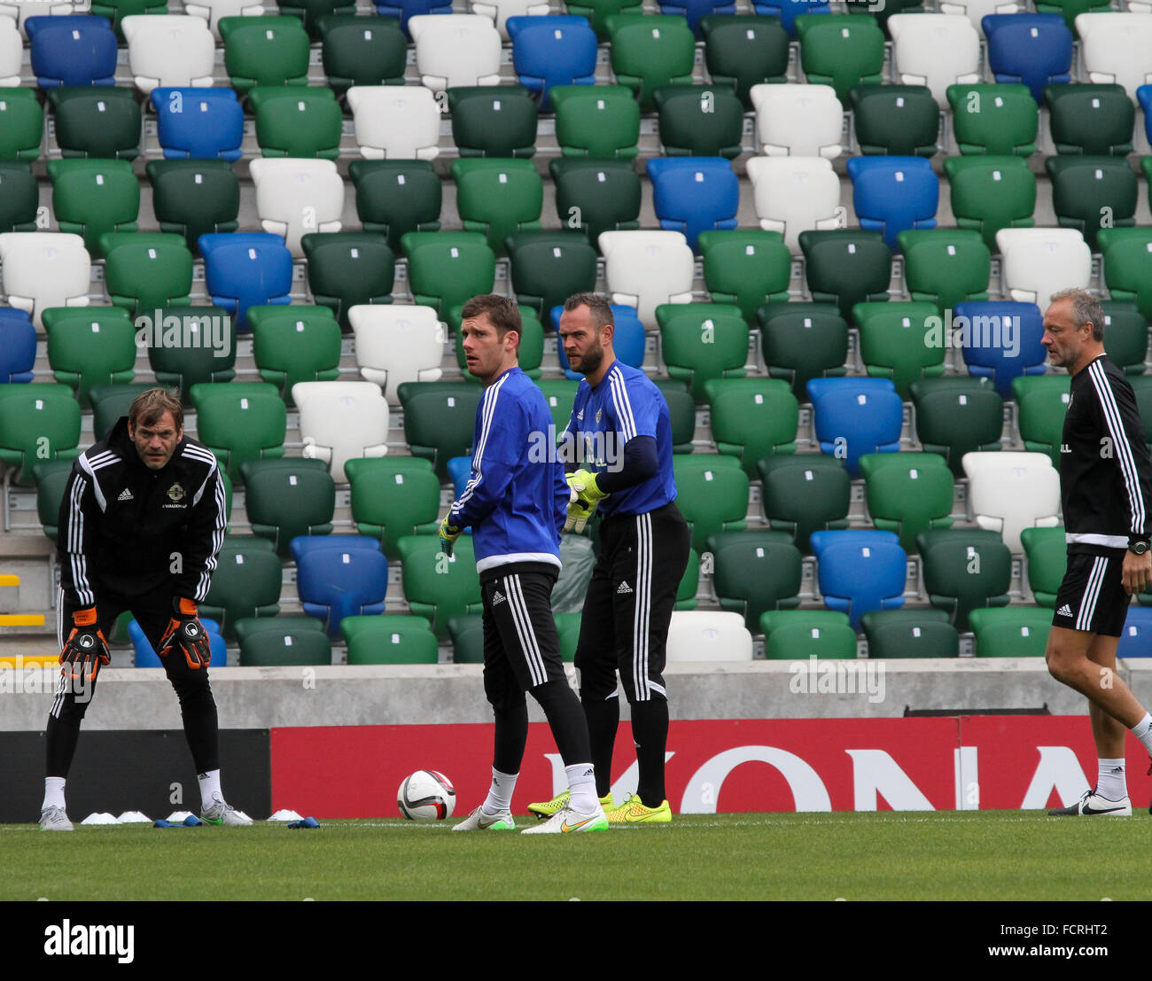 Northern Ireland international goalkeepers taking part in a Northern Ireland training session (September 2015). - Stock Image