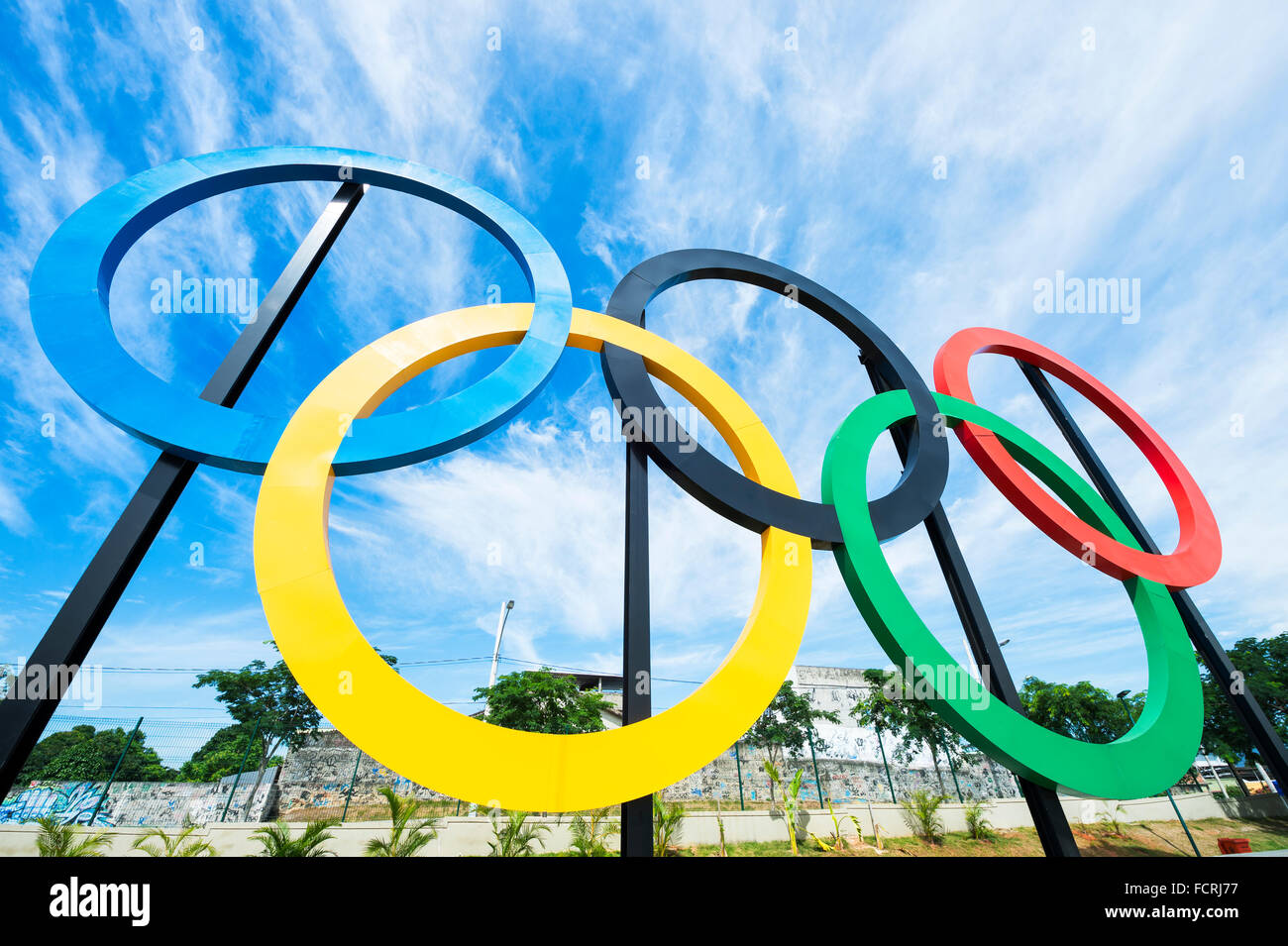 RIO DE JANEIRO - OCTOBER 31, 2015: Olympic rings stand against blue sky in Parque Madureira Park, in the Zona Norte Stock Photo
