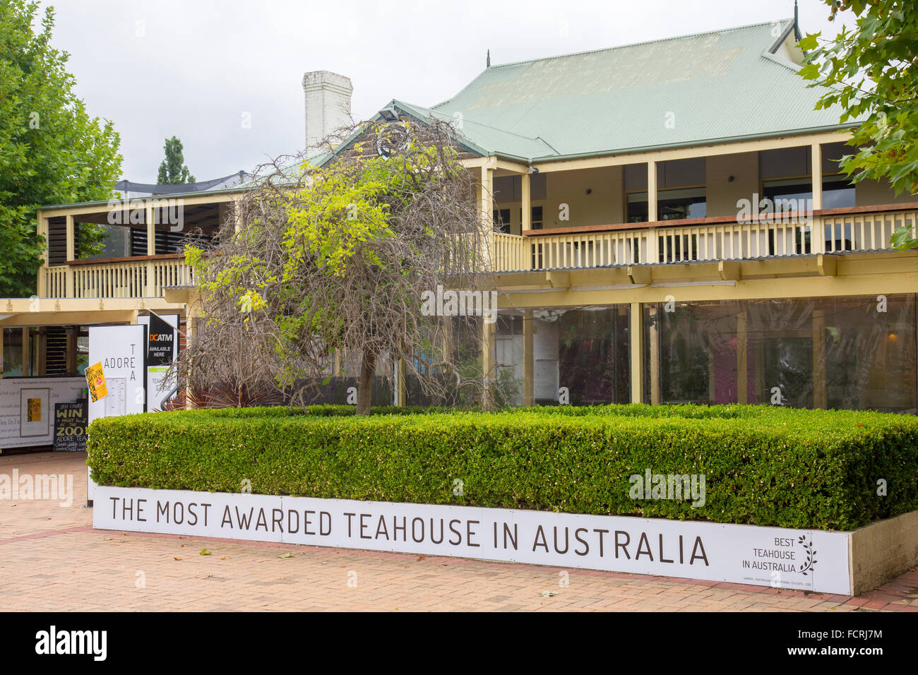 Adore Teahouse in Nicholls,ACT,Australia with sign the most awarded teahouse in australia - Stock Image