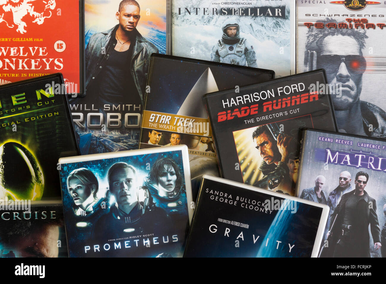 A collection of English language film DVDs showing the genre 'Sci-Fi' - Stock Image