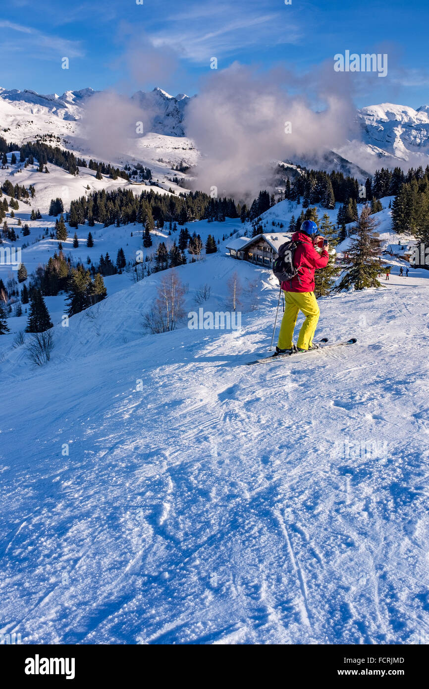 Les Gets ski resort and station on Portes Du Soleil domain in the French Alps - Stock Image