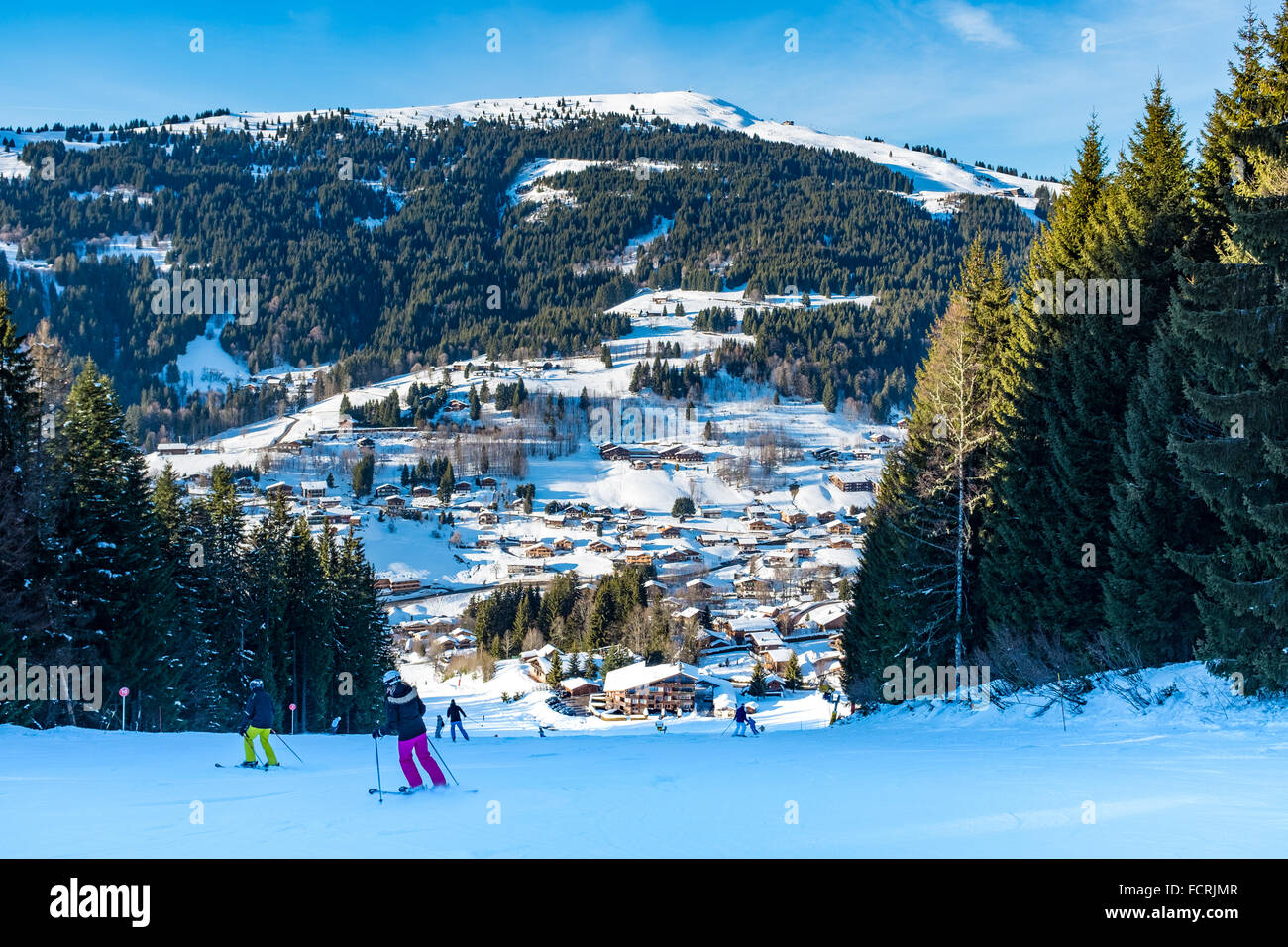 Les Gets ski resort and station on Portes Du Soleil domain in the French Alps Stock Photo