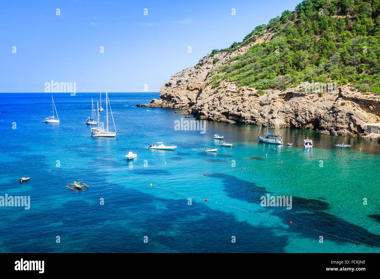 Ibiza Cala Benirras beach in san Joan at Balearic Islands Spain - Stock Image