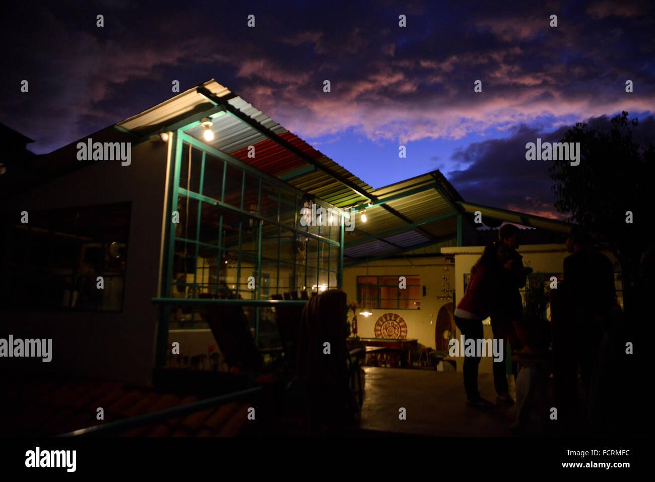 Evening at the Hostel in Quito, Ecuador - Stock Image