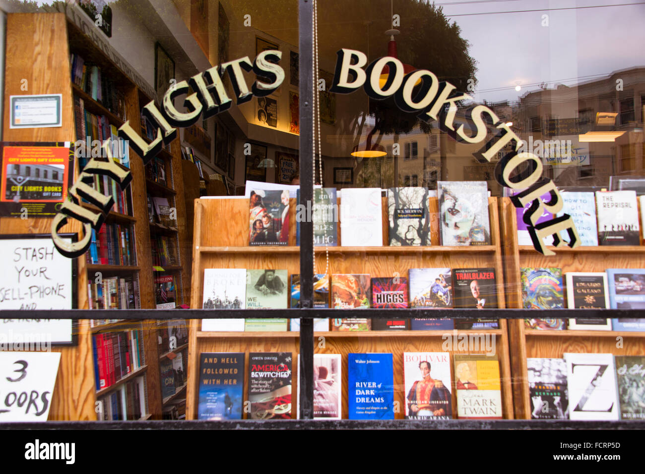 City Lights Bookstore window, San Francisco, California - Stock Image
