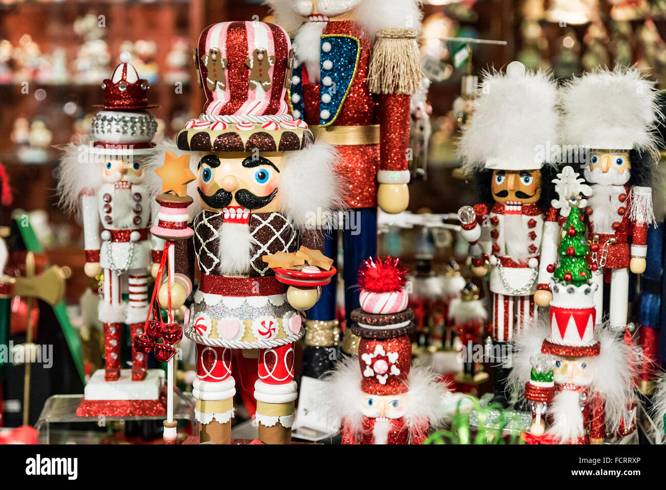 Christmas Nutcracker figurines in a holiday shop. - Stock Image