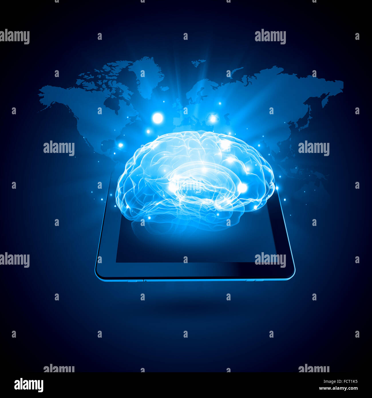 Global technologies concept with tablet pc and media icons - Stock Image