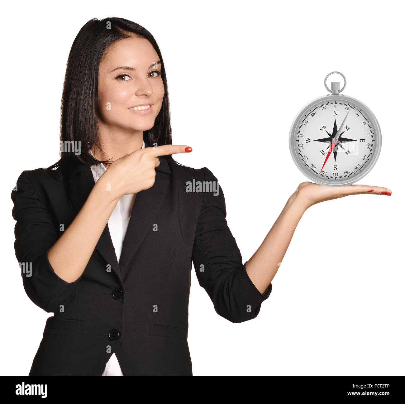 Office girl standing on white background and holding compass Stock Photo