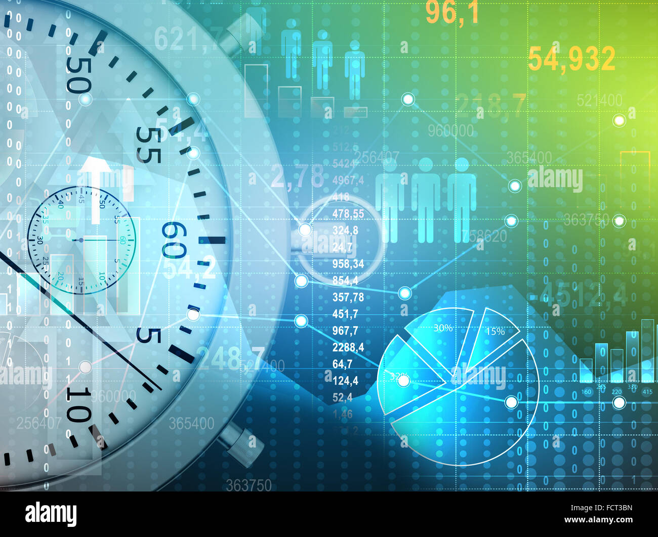 Abstract conceptual illustration of stopwatch and icons people with charts - Stock Image