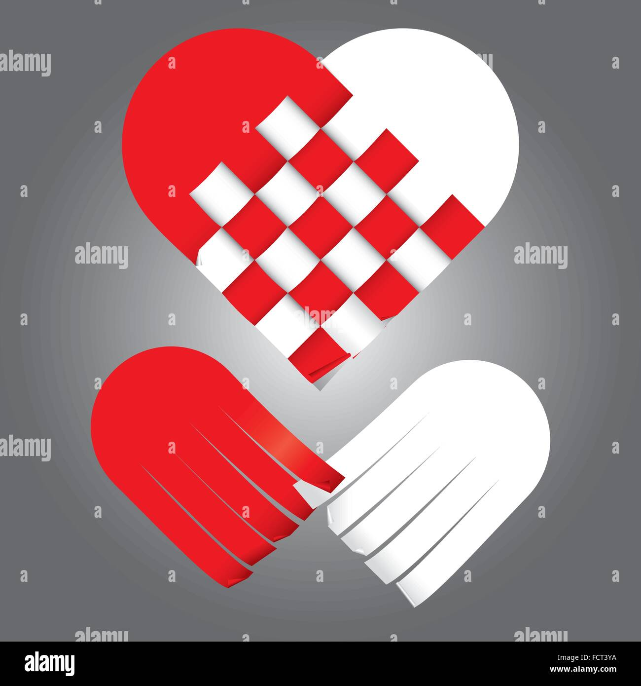 illustration of weaving heart two tones, red and white - Stock Vector