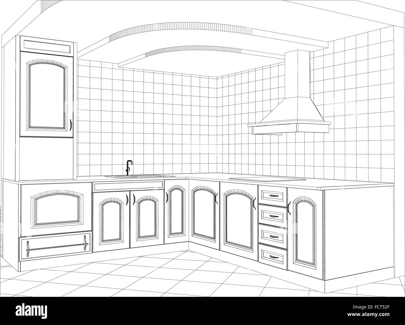 Facade Kitchen Vector Sketch Interior Illustration Created Of 3d