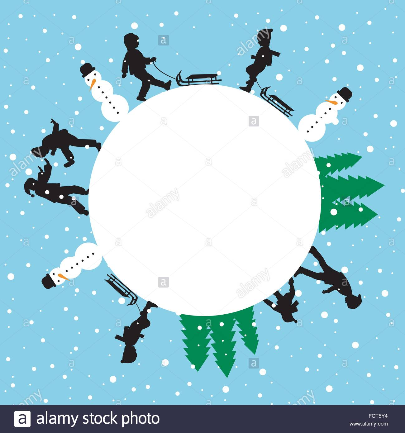 Winter round card with silhouettes of children playing - Stock Vector