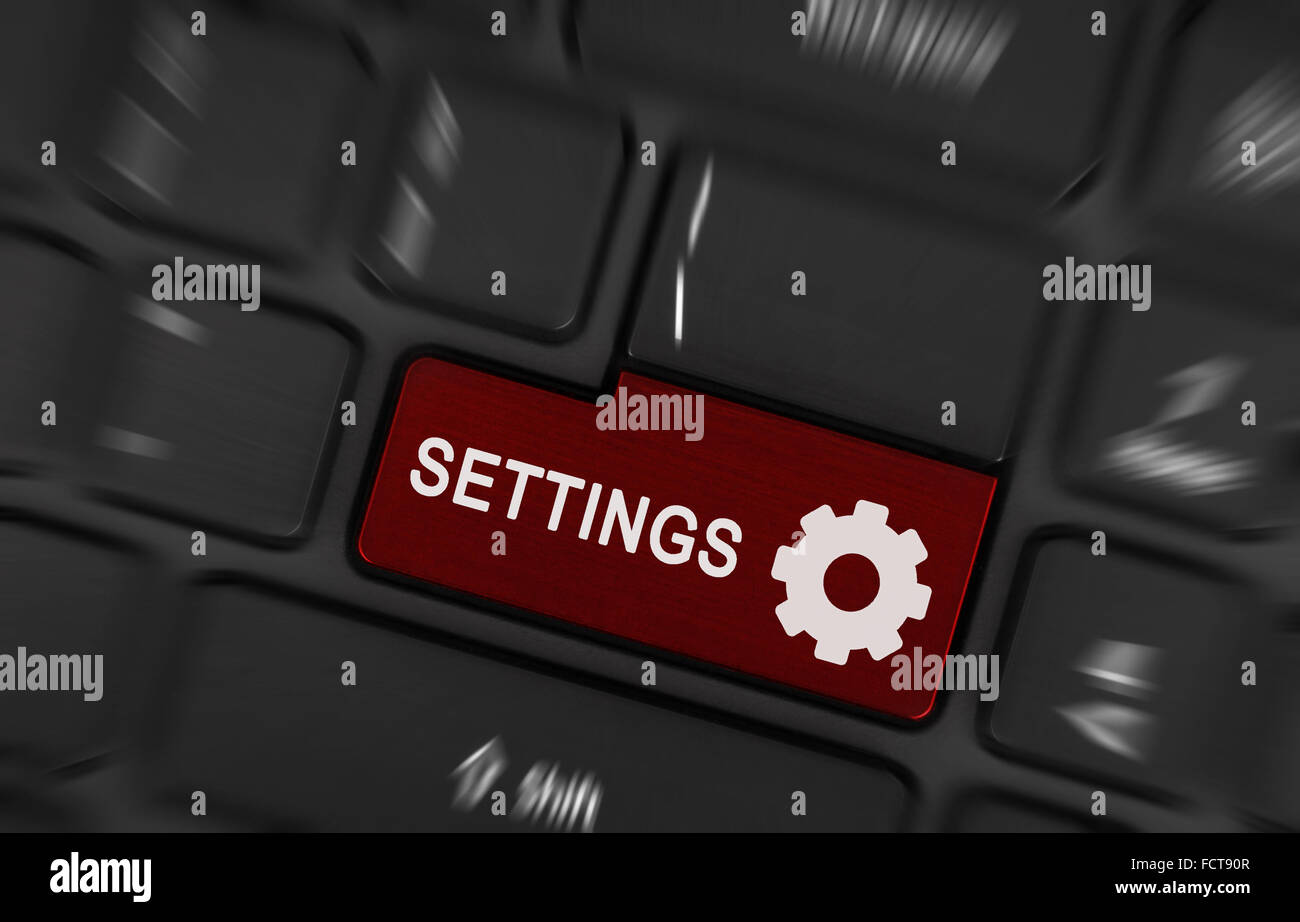 Red Button Settings On Black Laptop Keyboard Stock Photo Alamy
