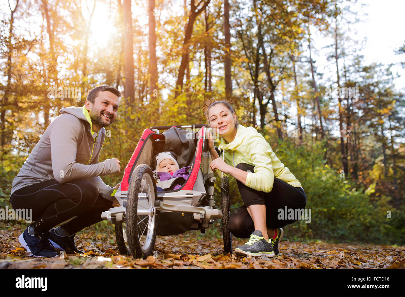 Young family in nature - Stock Image