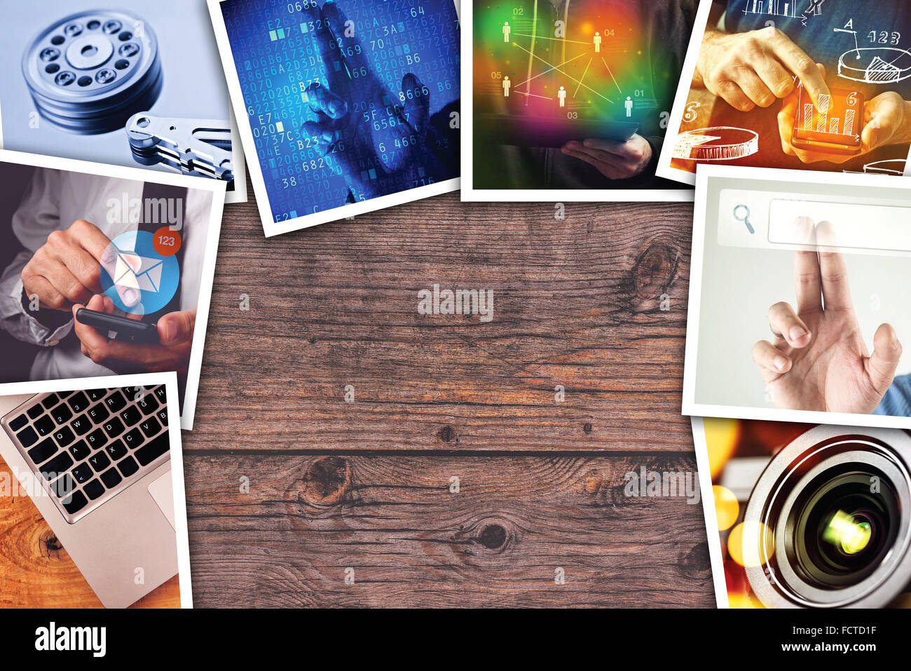 Modern computer technology photo collage, stack of tech and internet themed pictures on wooden office desk with - Stock Image