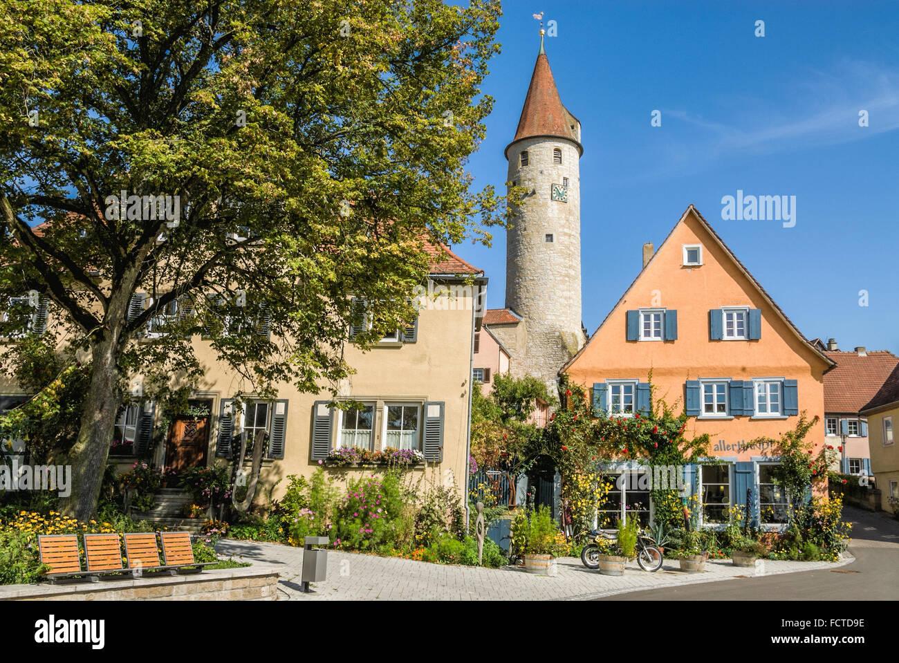 Historic town center of Kirchberg a d Jagst, Baden Wuerttemberg | Historis Altstadt von Kirchberg a d Jagst, Deutschland - Stock Image