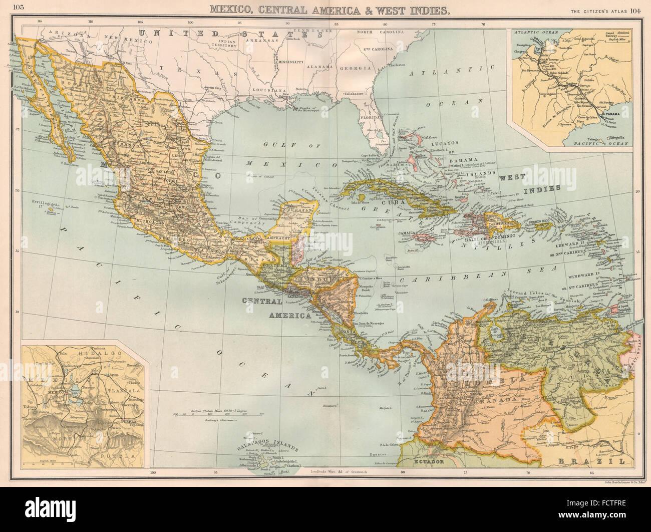 Panama Mexico Map.Central America Mexico Caribbean Panama Canal Bartholomew 1898