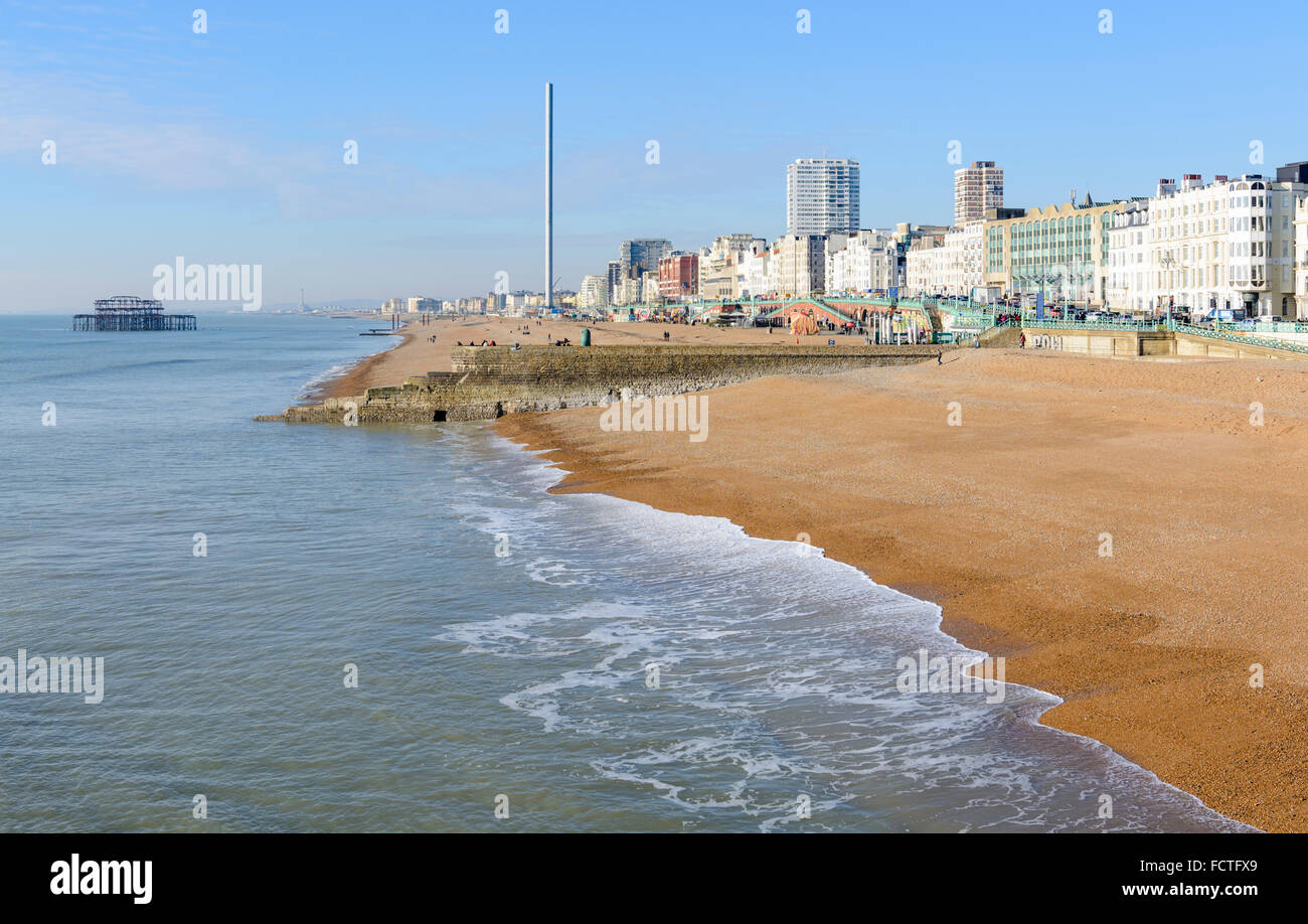 Brighton seafront on a sunny Winter's day in Brighton, East Sussex, England, UK. Brighton coast. Brighton coastline. Stock Photo