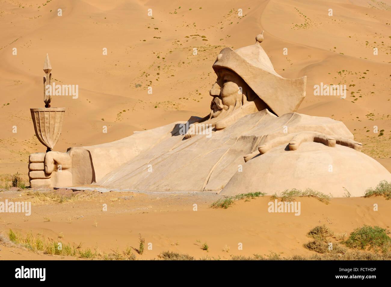China, Inner Mongolia, Badain Jaran desert, Gobi desert, Gengis Khan statue, Mongol emperor - Stock Image