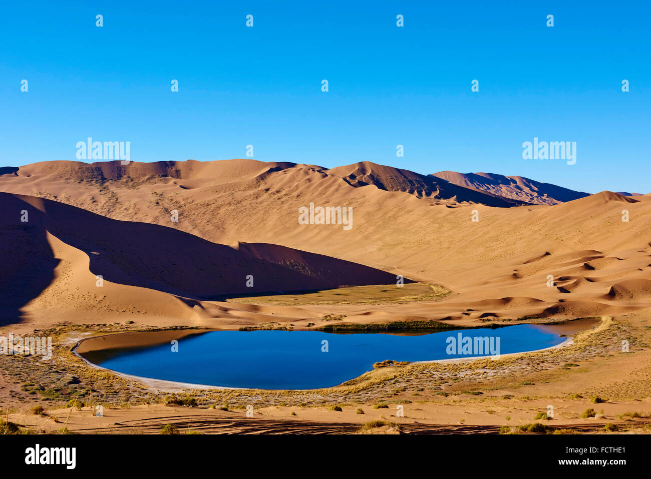 China, Inner Mongolia, Badain Jaran desert, Gobi desert - Stock Image