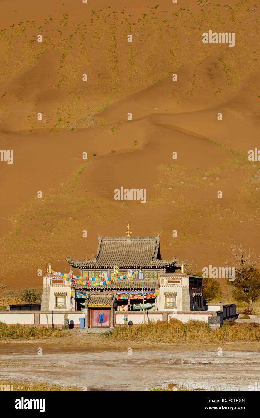 China, Inner Mongolia, Badain Jaran desert, Gobi desert, Mongol monastery of Badain Jilin - Stock Image