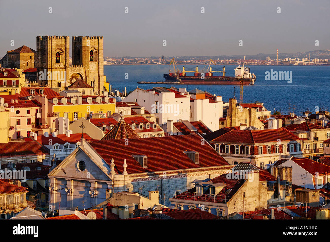 Portugal, Lisbon, Alfama and Sé Cathedral Stock Photo