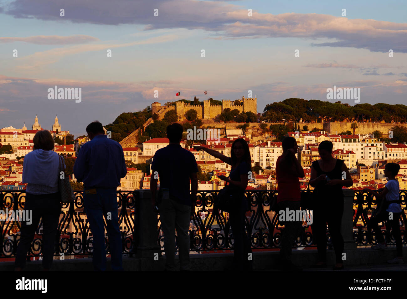 Portugal, Lisbon, city and Castelo Sao Jorge or St George's Castle from Miradouro de Sao Pedro de Alcantara - Stock Image