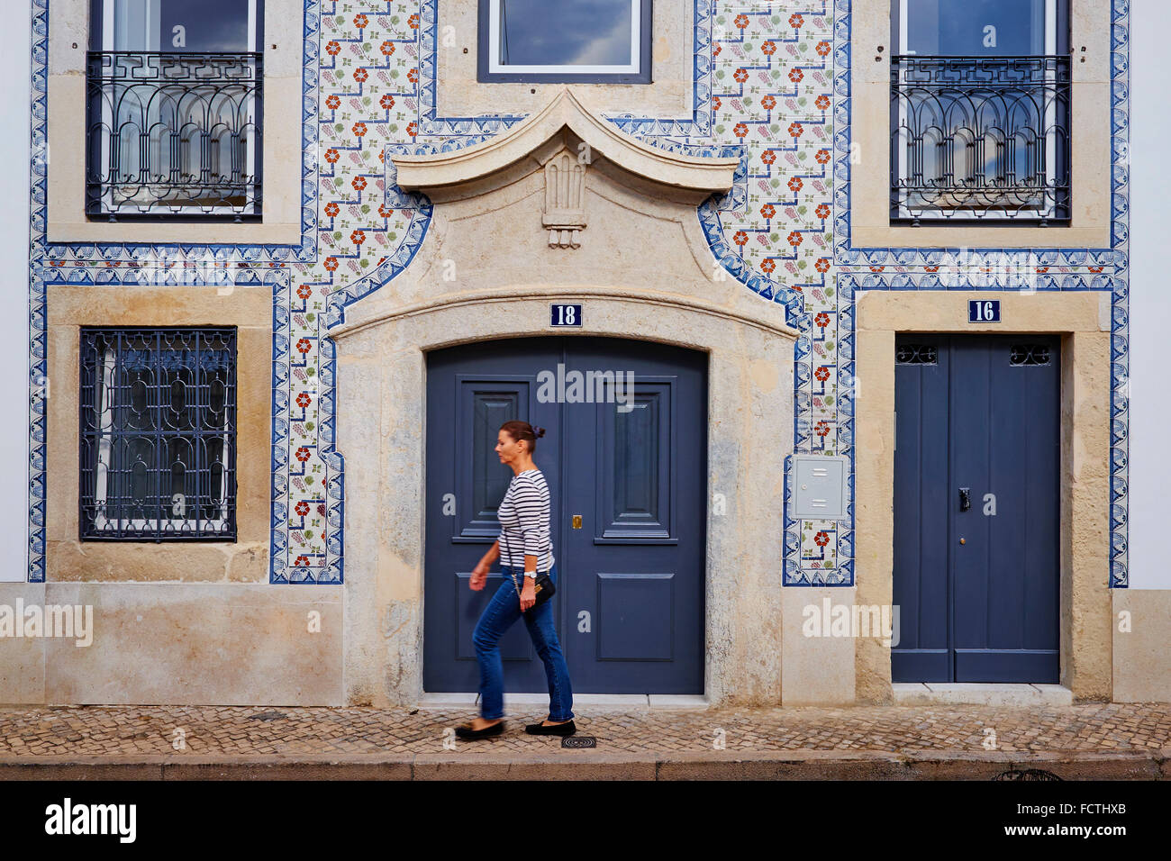 Portugal, Lisbon, Alfama frontage of a appartement - Stock Image