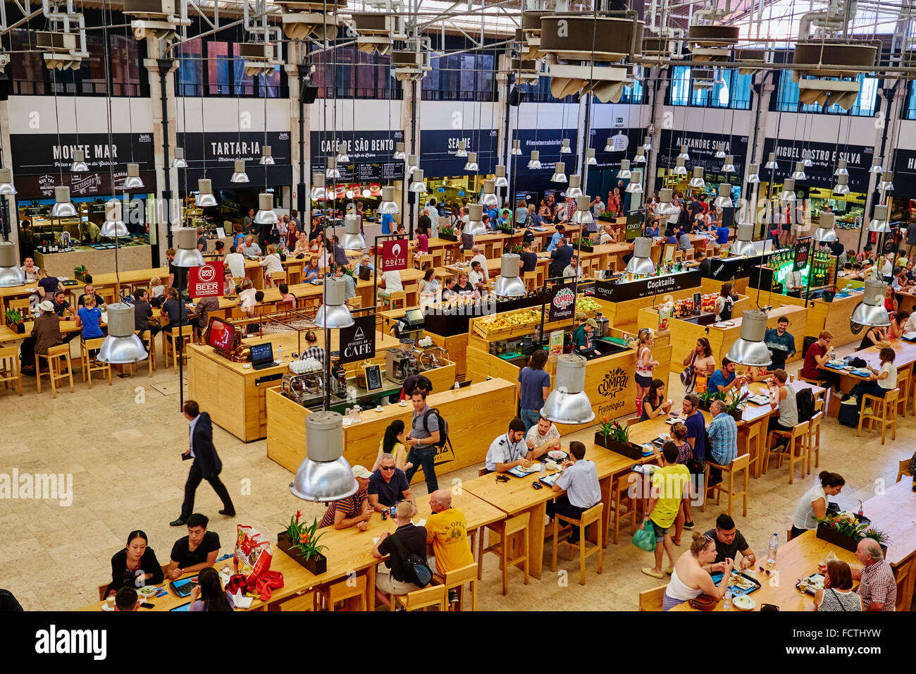 Portugal Lisbon food court Time Out Mercado da Ribeira Stock Photo ... 3dc31d52dc655