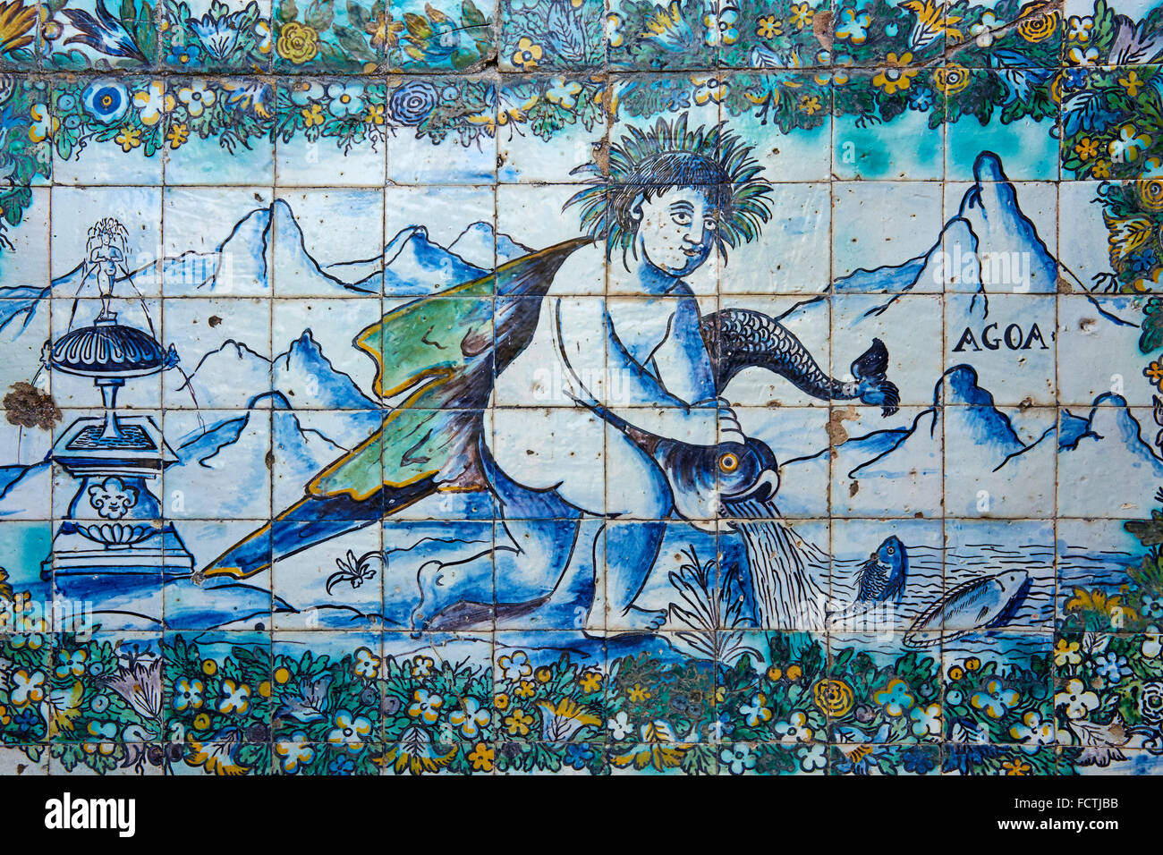 Portugal, Lisbon, Palacio dos Marqueses de Fronteira, azulejos ceramics tiles - Stock Image
