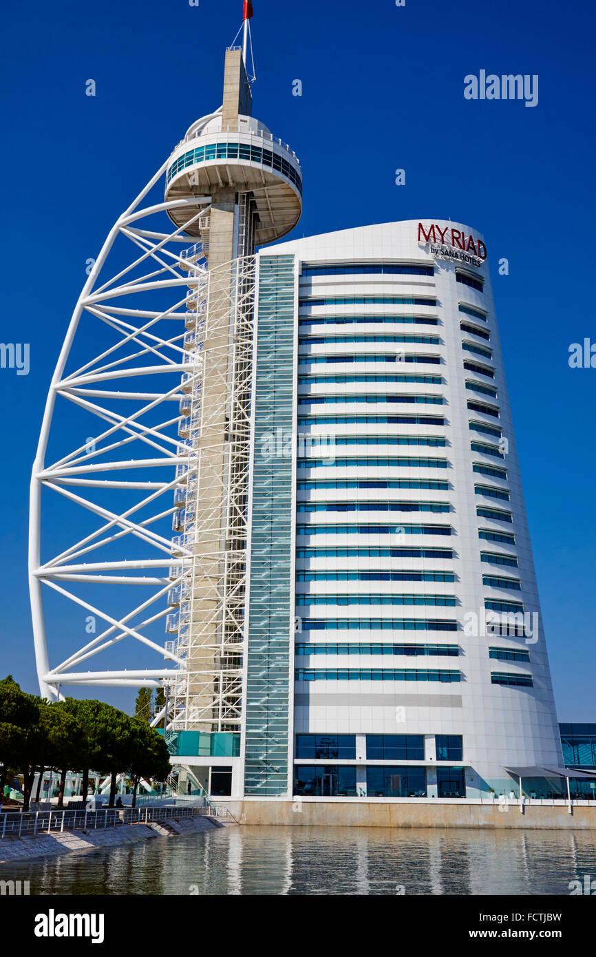 Portugal, Lisbon, Torre Vasco da Gama Myriad hotel - Stock Image