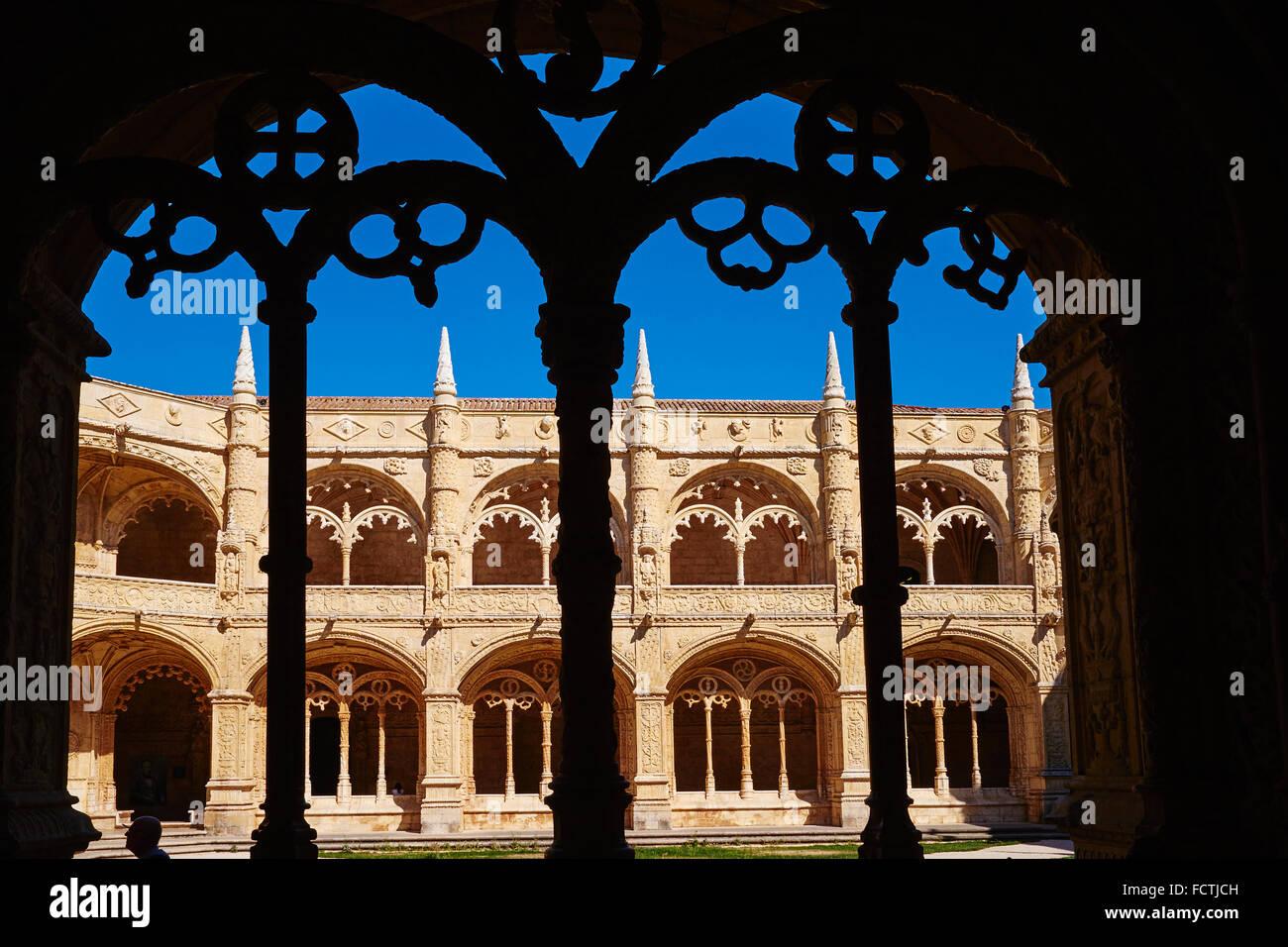 Portugal, Lisbon, mosteiro dos Jeronimos, Jeronimos monastery, UNESCO world heritage, the cloister - Stock Image