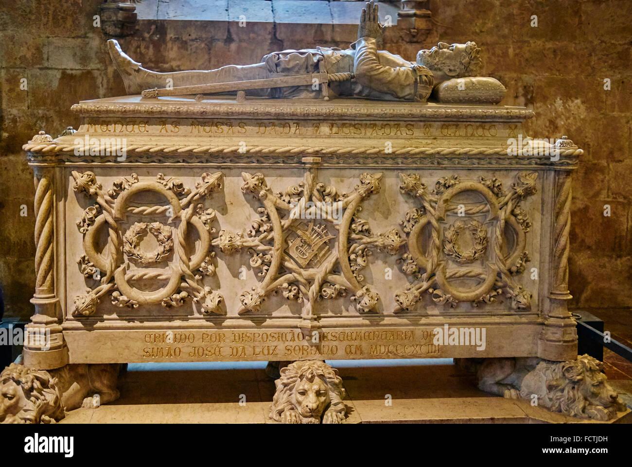 Portugal, Lisbon, mosteiro dos Jeronimos, Jeronimos monastery, UNESCO world heritage, gravestone of Luis Vaz de - Stock Image