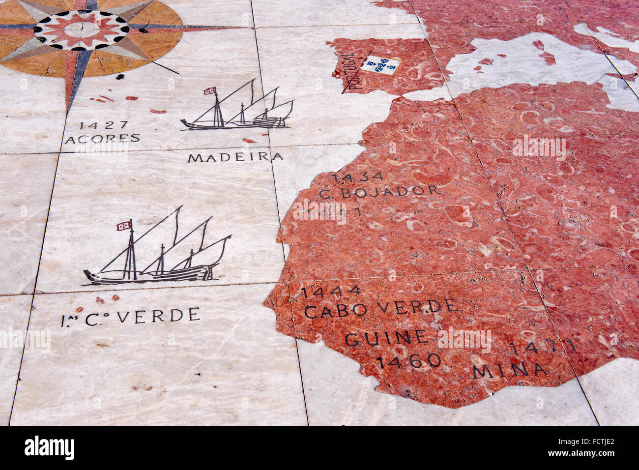 Portugal, Lisbon, Belem, compass pavement, mosaic deptic the navigator's  itinerary, in front of the Monument - Stock Image