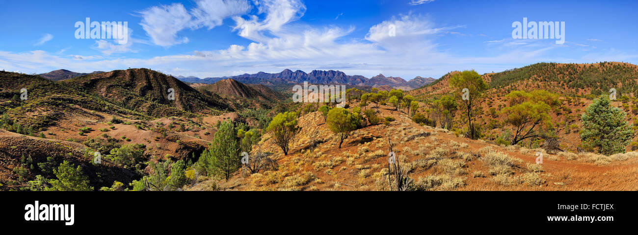 Flinders ranges national park in South australia  - panoramic view of remote mountain ranges from hilly lookout - Stock Image