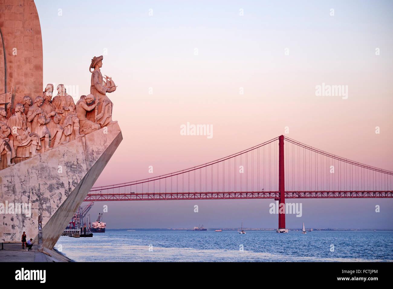 Portugal, Lisbon, Belem, Padrao dos Descobrimentos (Monument to the Discoveries - Stock Image