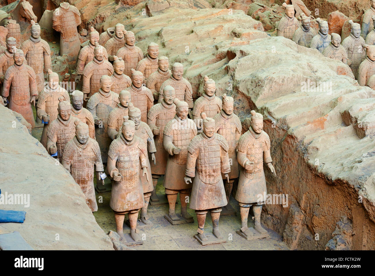 China, Shaanxi province, Xian, Lintong site, Detail of some of the six thousand statues in the Army of Terracotta - Stock Image