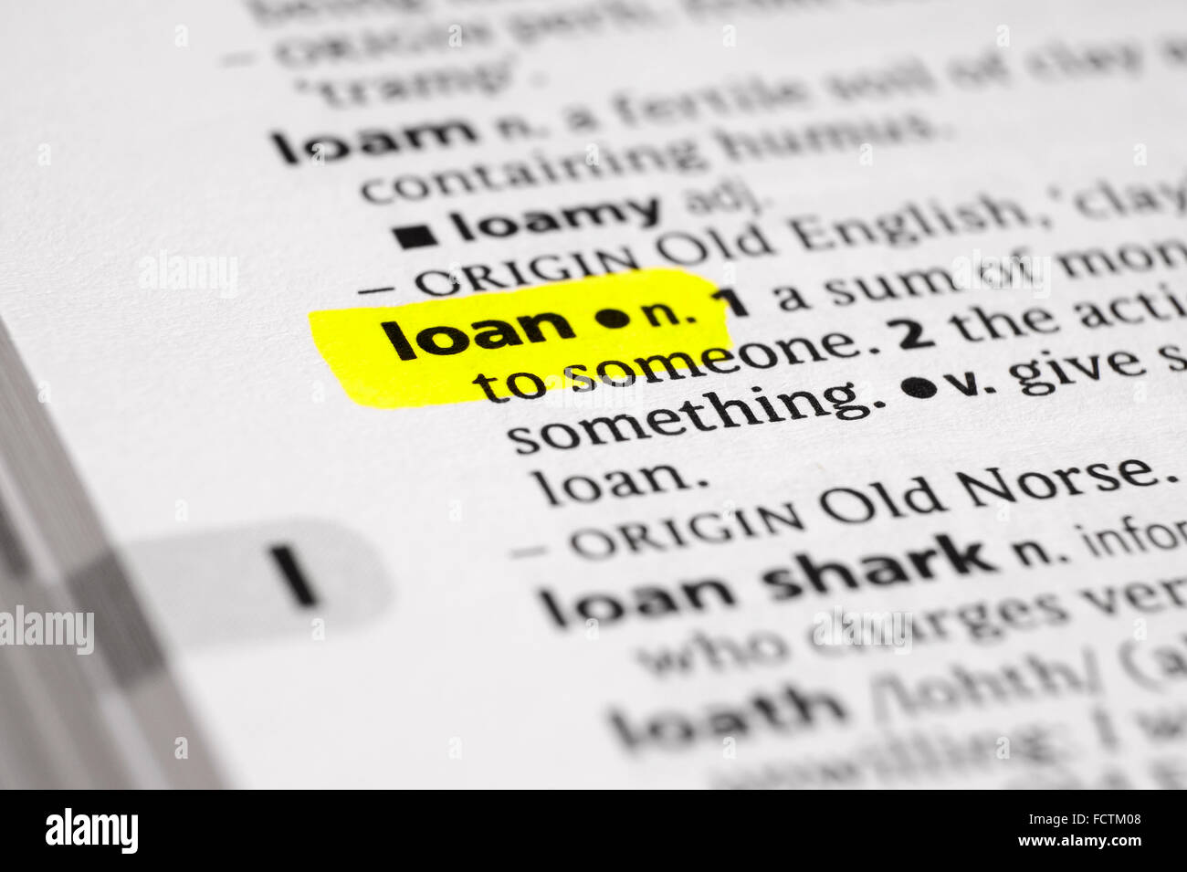dictionary definition of the word loan - Stock Image