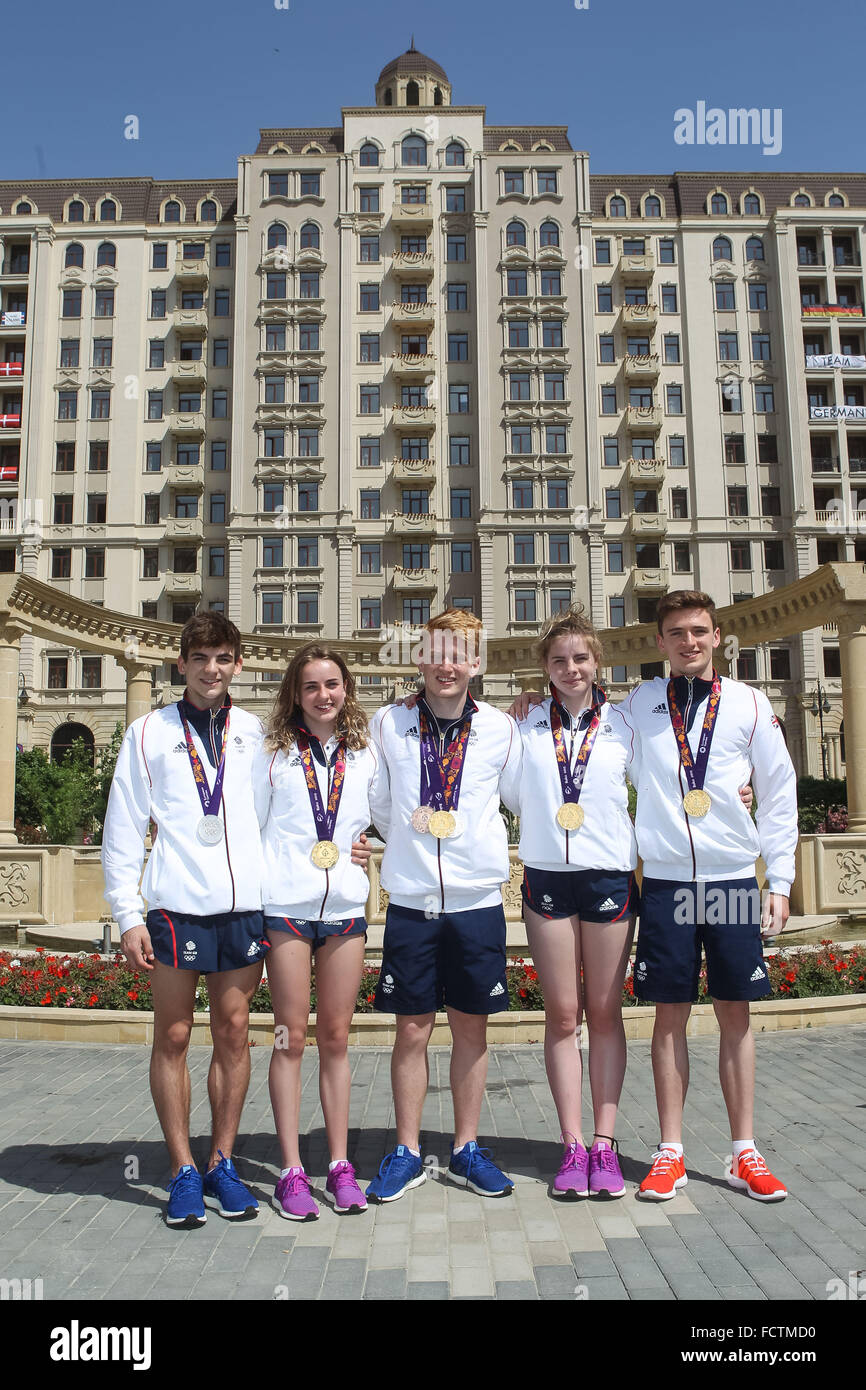 (L-R) Great Britain diving medallists Ross Haslam, Lois Toulson, James Heatly, Katherin Torrance and Matthew Lee - Stock Image