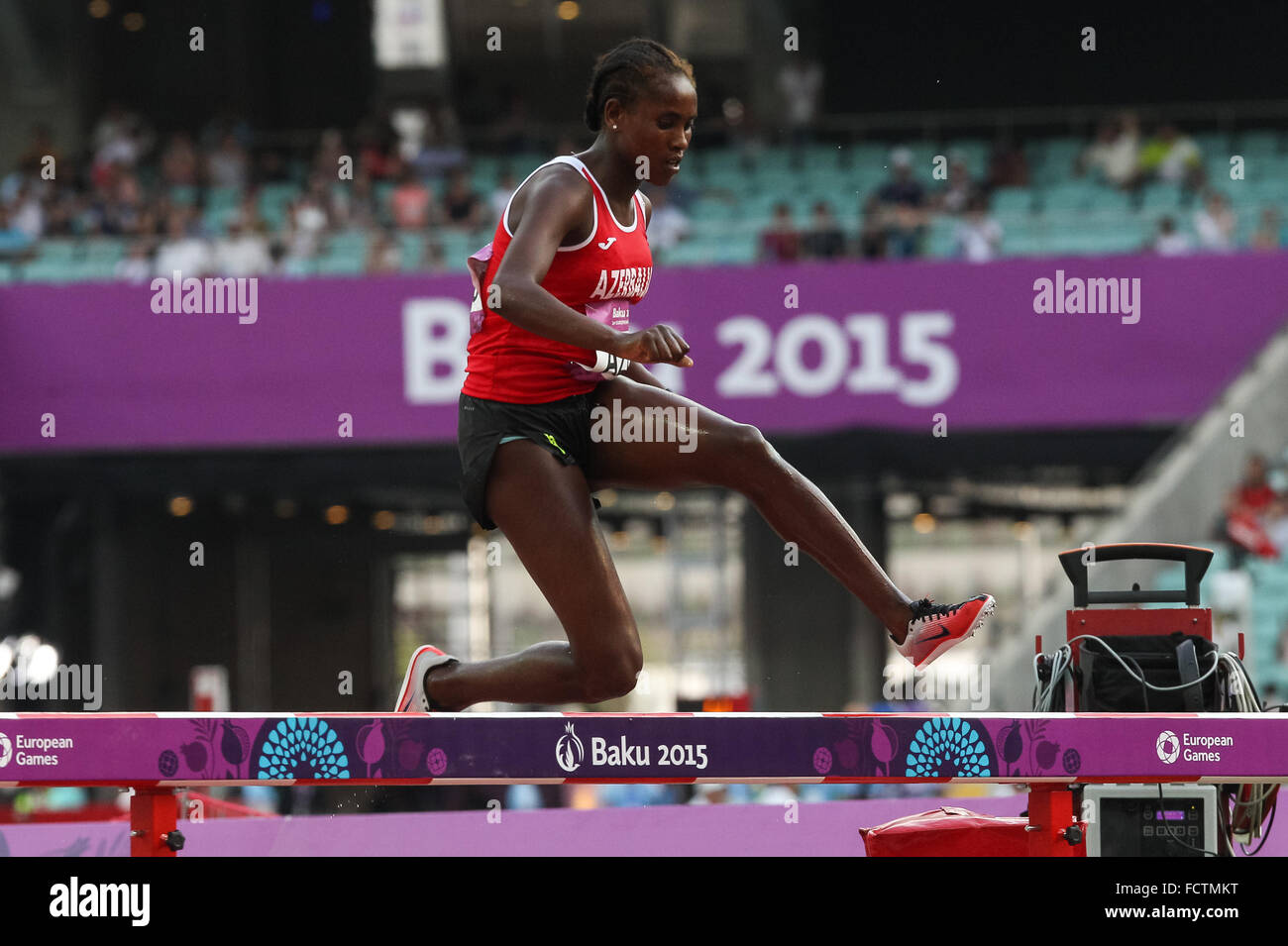 Chaltu Beji (AZE) on her way to victory during the Women's 3000m Steeplechase. Athletics. Olympic Stadium. Baku2015. Stock Photo