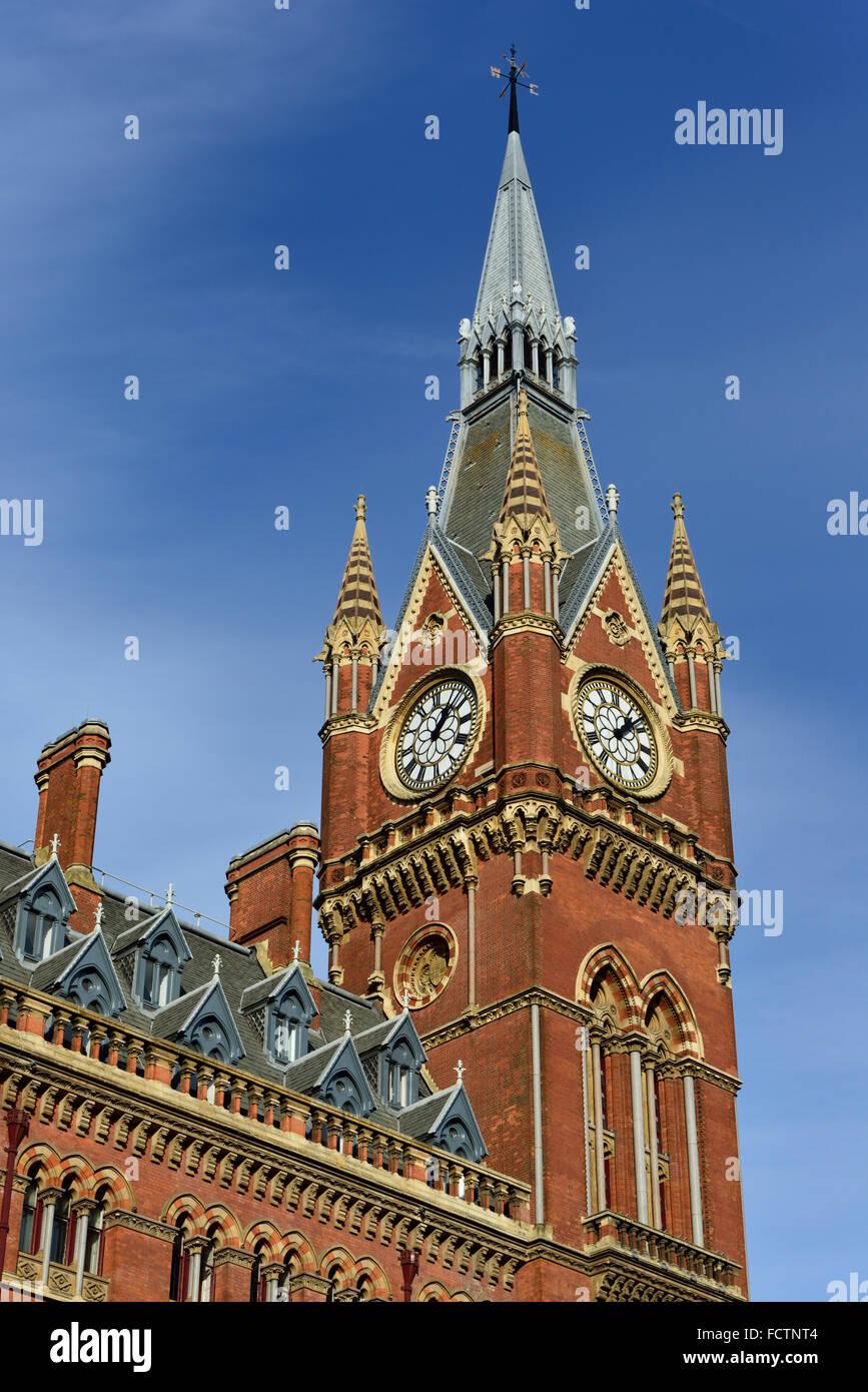 St Pancras Renaissance Hotel, International railway station, Euston Road, London NW1, United Kingdom - Stock Image