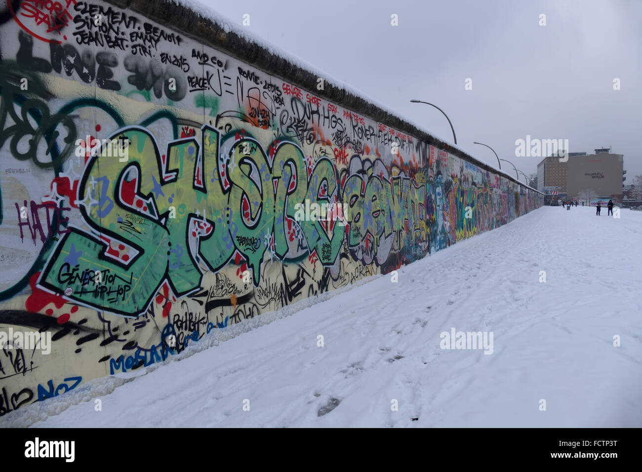 Urban view of Berlin, German capital city, Germany, Europe. East Side Gallery with graffiti art on the Berlin Wall - Stock Image