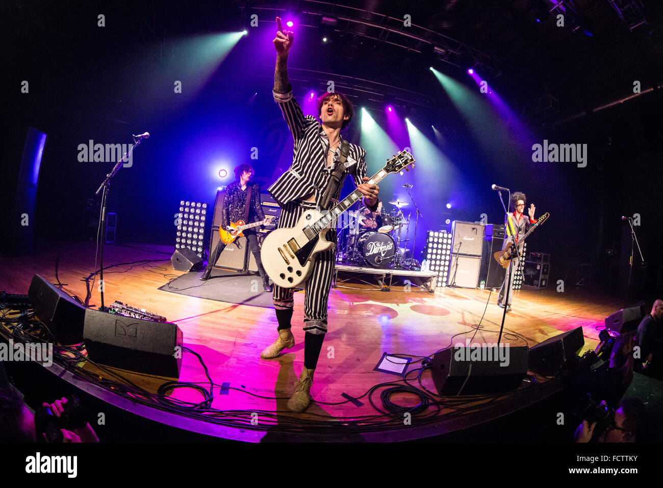 Milan Italy. 24th January 2016. The British rock band The Darkness performs live on stage at the music club Alcatraz - Stock Image