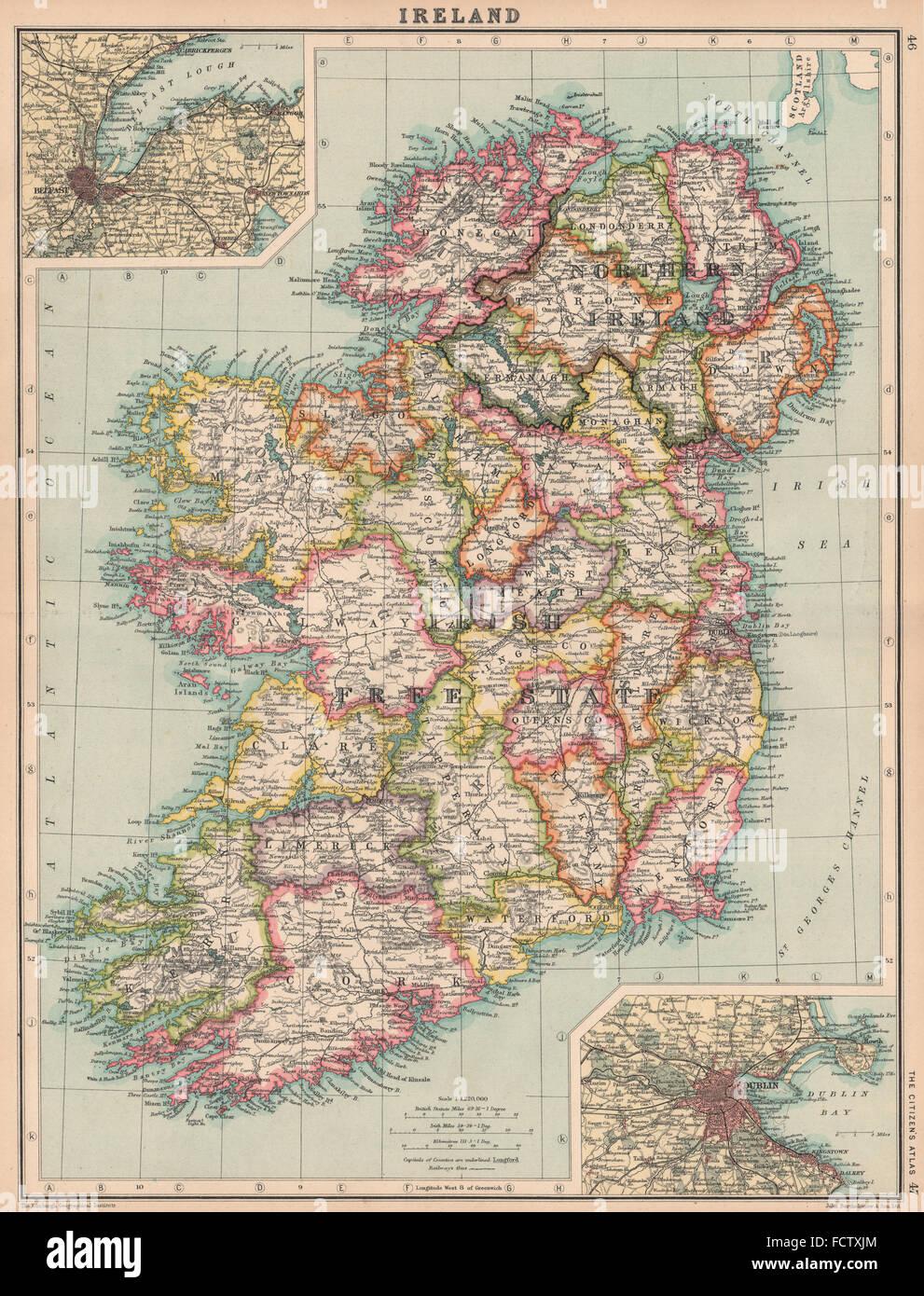 Irish Free State Northern Ireland Inset Belfast Dublin Bartholomew