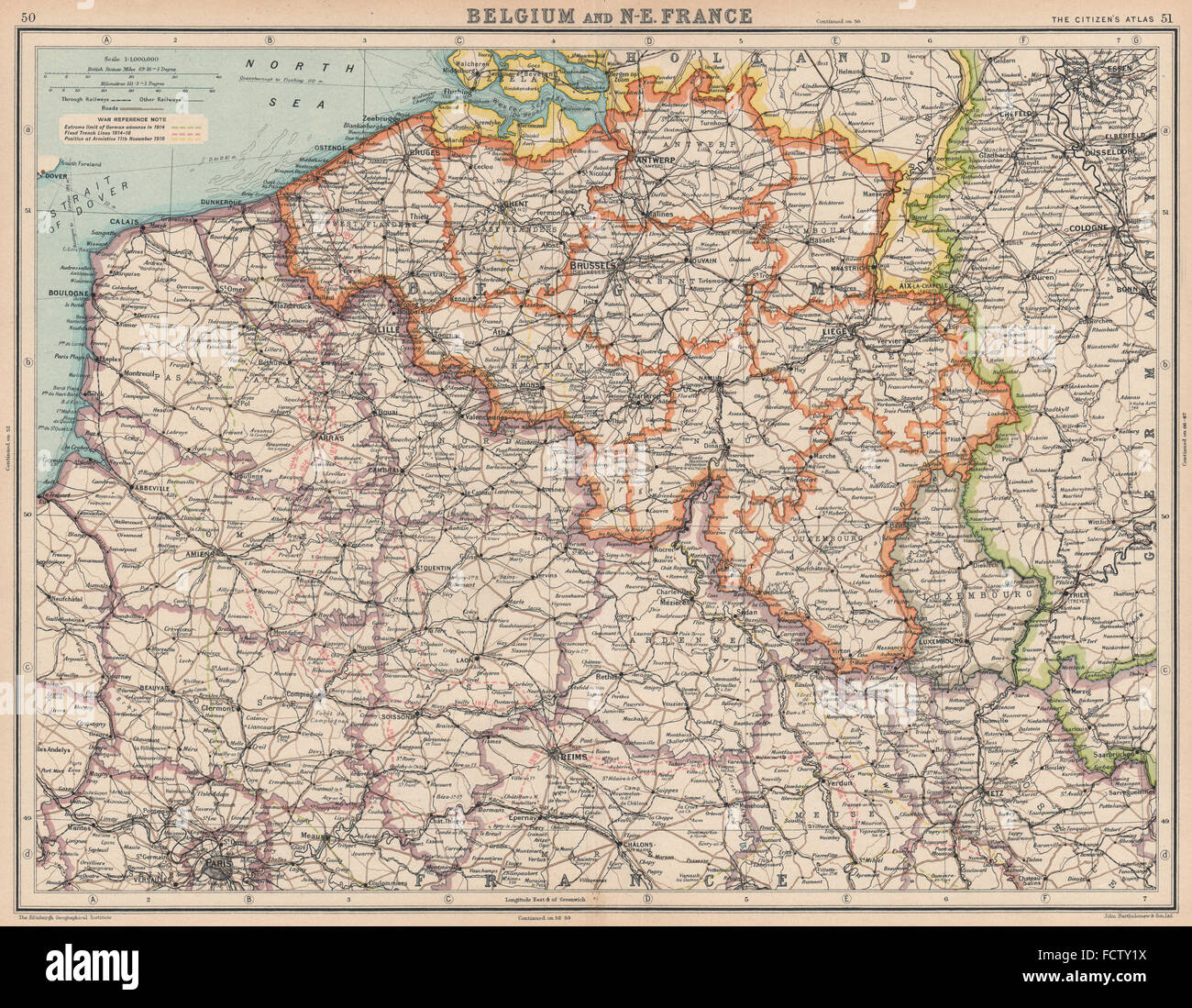 Map Of Northern France Belgium.Belgium North East France Nord Pas De Calais Picardy Stock Photo