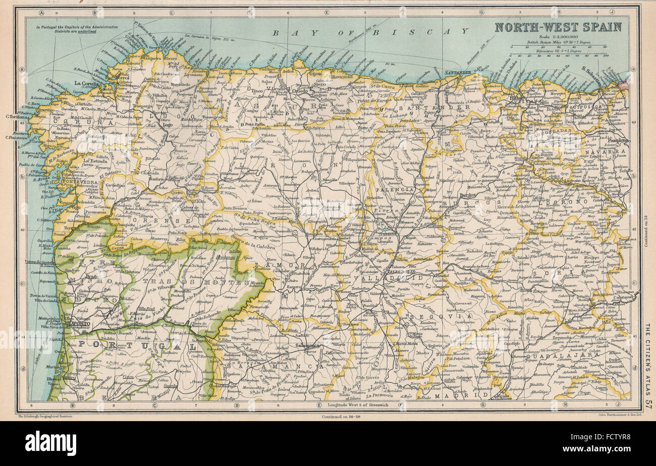 North Of Spain Map.North West Spain Galicia Asturias Leon Old Castille Basque Country