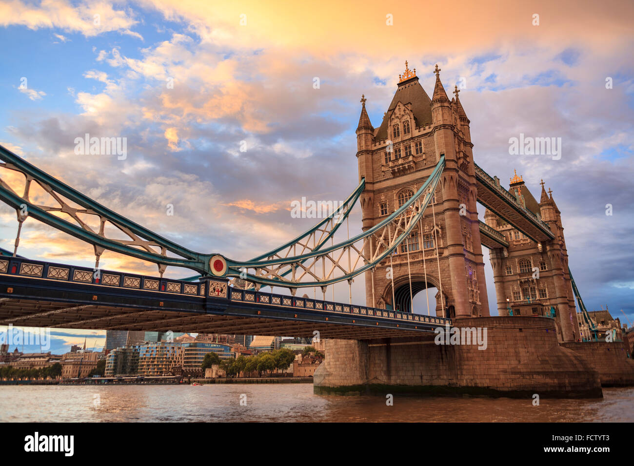 Tower Bridge at orange Sunset, London - Stock Image