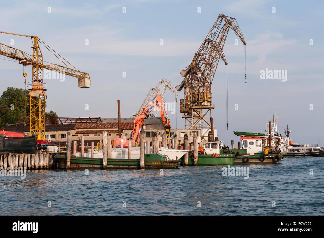 Venice, Italy. A boatyard on the Giudecca - Stock Image