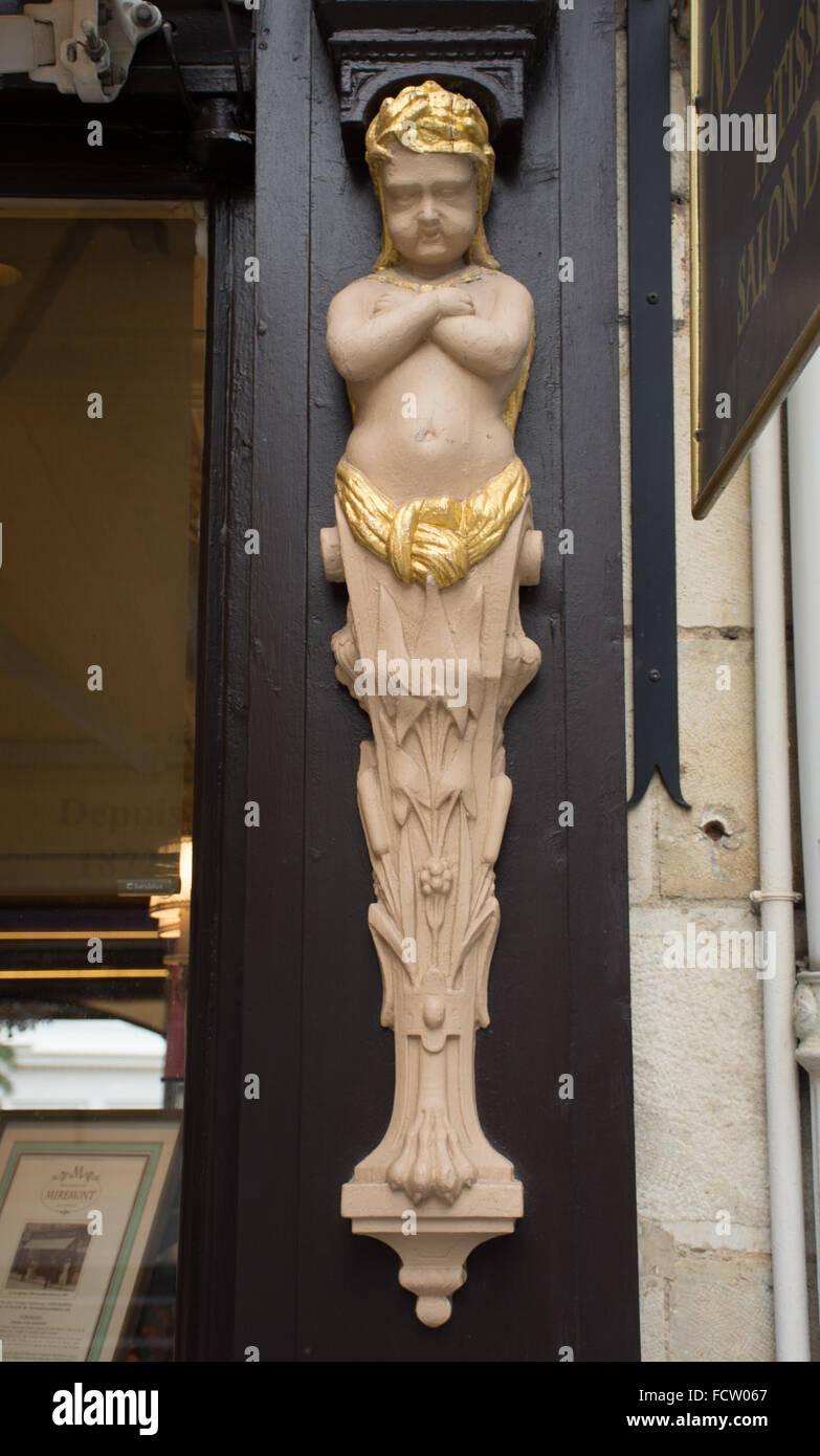 Caryatid outside pastry shop Biarritz Basque Country France - Stock Image